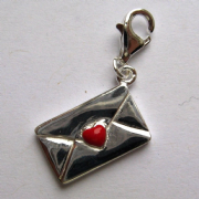 Sterling silver enamelled clip on Love letter charm